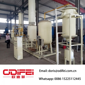 Fully continuous waste engine oil refinery to diesel